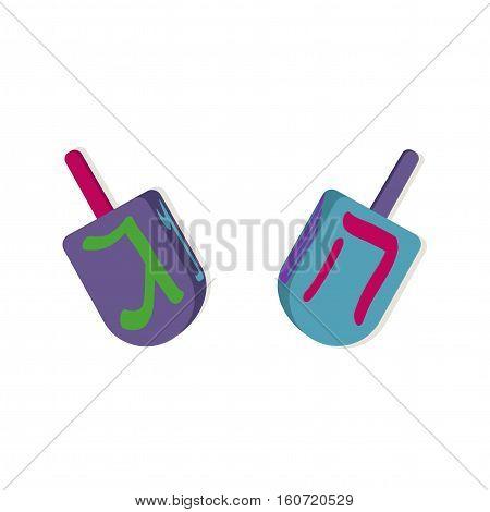 Dreidels with letters for Hanukkah. Vector illustration.