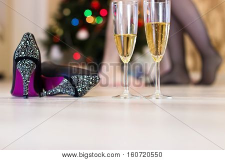 Sex After A Christmas Party, Quick Sex Concept.