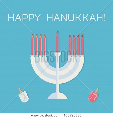 Happy Hanukkah! Menorah with candles and dreidle. Vector illustration.