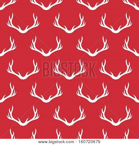 Christmas antlers silhouette seamless pattern. Xmas deer Illustration. Animal head texture. Design for textile wallpaper web fabric decor