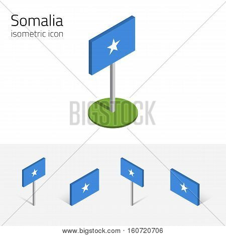 Somali flag (Federal Republic of Somalia) vector set of isometric flat icons 3D style different views. Editable design elements for banner website presentation infographic poster map. Eps 10