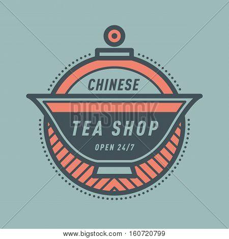 Logo for Chinese tea shop monogram badge icon. Vector tea shop sign monogram and Chinese shop symbol logo badge. Retro drink tea monogram business menu badge shop sticker icon. Vector illustration.