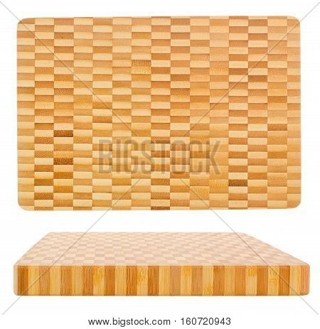 Two wooden cutting board isolated on white/Top view and perspective