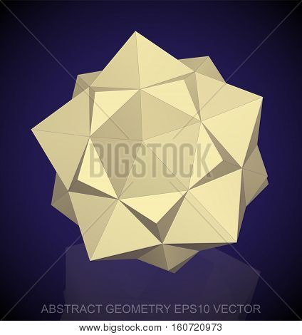 Abstract stereometry: low poly Yellow Dodecahedron. 3D polygonal object, EPS 10, vector illustration.