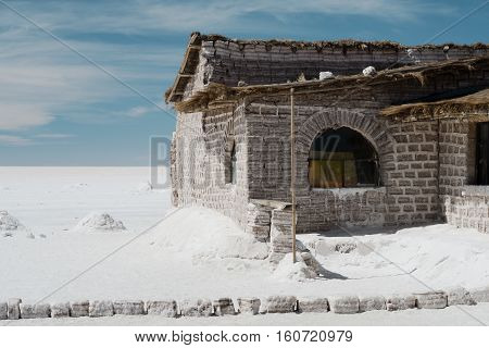 Salt hotel on the Bolivia's Salar de Uyuni, the world's largest salt flats. Salt bricks are used to create the salt hotel.
