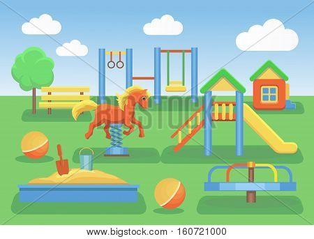Kids playground cartoon concept background. Slide outdoor, sand and childhood, illustration