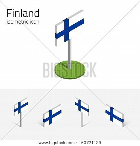 Finnish flag (Republic of Finland) vector set of isometric flat icons 3D style different views. Editable design elements for banner website presentation infographic poster map. Eps 10