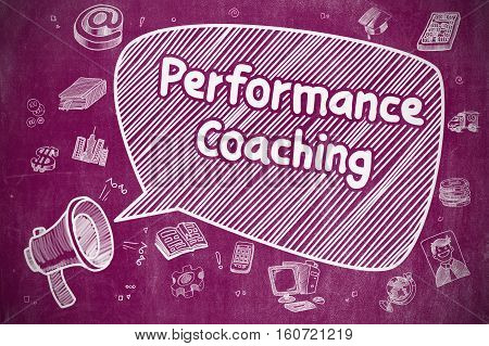 Performance Coaching on Speech Bubble. Cartoon Illustration of Screaming Loudspeaker. Advertising Concept.