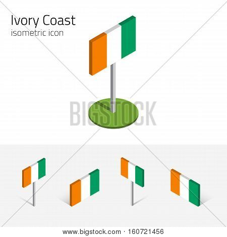 Ivorian flag (Republic of Cote d'Ivoire) vector set of isometric flat icons 3D style. African country flags. Editable design elements for banner website presentation infographic map. Eps 10