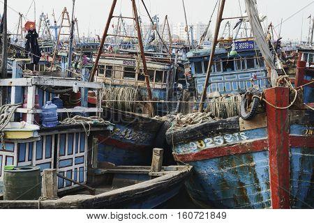 Wooden Fishing Boats Congested At The Fishing Village in Da Nang, December 26, 2013 - Da Nang, South Vietnam