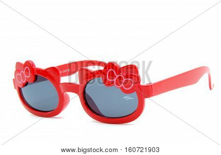 sun eyeglass, red frame, nice bow,, isolated on white background