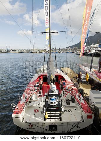 China's only sailing boat 'Volvo Ocean 65 Dongfeng' in Cape Town, South Africa. November 15, 2014 - Cape Town, South Africa, Abu Dhabi Ocean Racing