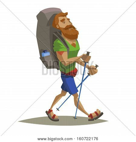 Hiker walking with backpack. Backpacker with read beard and tattoo holding sticks. Outdoor adventure nature traveling. Vector illustration modern flat style. For banner postcard web.
