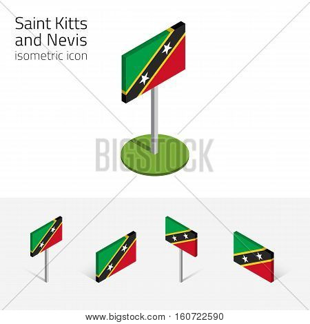 Saint Kitts and Nevis flag (Federation of Saint Christopher and Nevis) vector set of isometric flat icons 3D style. Design elements for banner website presentation infographic map. Eps 10