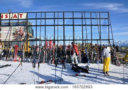 Apres Ski, Skiers Enjoying A Party After A Dat Of Skiing