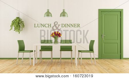 White And Green Dining Room