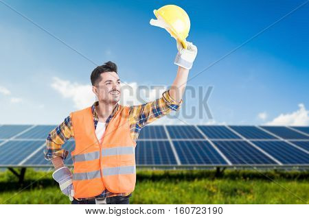 Smiling Engineer Doing Salutation Gesture