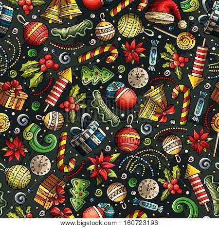Cartoon cute hand drawn Xmass seamless pattern. Colorful with lots of objects background. Endless funny vector illustration