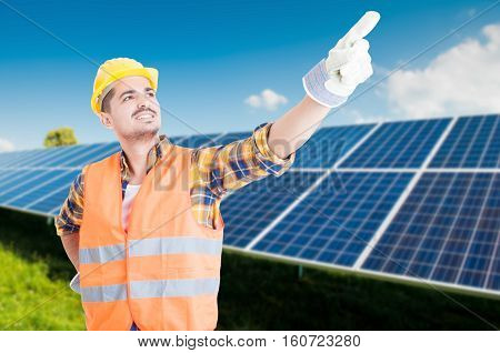 Young Engineer Pointing Finger Up