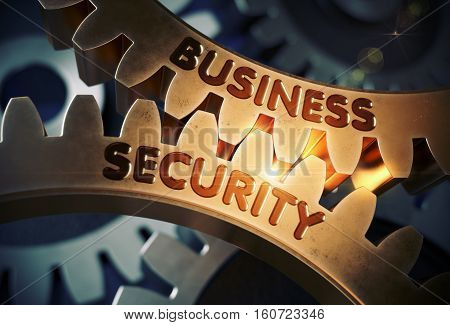 Business Security on Golden Metallic Cog Gears. Business Security on Mechanism of Golden Metallic Cog Gears with Glow Effect. 3D Rendering.