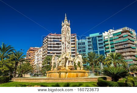 La Fuente de Levante Fountain on Luceros Square in Alicante - Spain