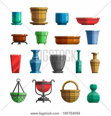 Different flowerpots pots for flowers vases ceramics trays bottles. Big set in modern colorful flat style for designs. Isolated vector illustration.