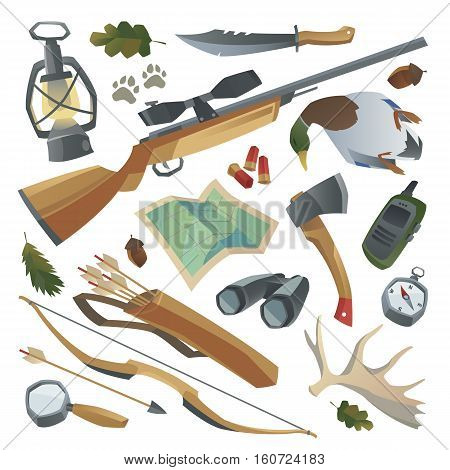Big hunters stuff set. Weapon rifle bow arrows binoculars magnifier quiver duck radio knife lantern antler compass map axe patron footprints. Isolated design elements. Cartoon style.