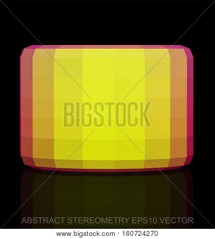 Abstract stereometry: low poly Yellow Cylinder. 3D polygonal object, EPS 10, vector illustration.