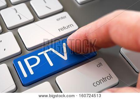 Man Finger Pushing IPTV Blue Key on Computer Keyboard. 3D Illustration.