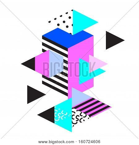 Memphis trendy design with geometric shapes. Abstract 80s-90s styles or memphis style. Colorful geometric hipster poster background. Vector illustration stock vector.