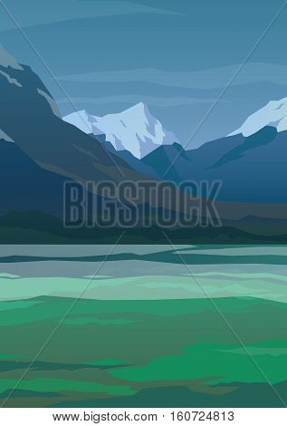 High mountains and green spring field landscape. Clear sky and morning fog. Spectacular view. Poster. Modern flat design. Vector illustration.