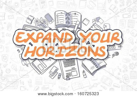Expand Your Horizons - Sketch Business Illustration. Orange Hand Drawn Text Expand Your Horizons Surrounded by Stationery. Cartoon Design Elements.