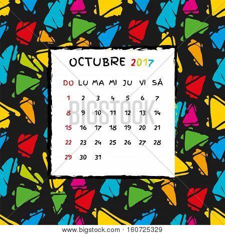Spanish Calendar 2017 template. Gaudi pattern. Vector pattern.