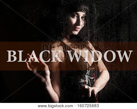 black widow written on virtual screen. hand of young woman melancholy and sad at the window in the rain
