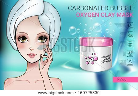 Carbonated Bubble Clay facial Mask ads. Vector Illustration with Manga style girl and carbonated bubble oxygen mask container.