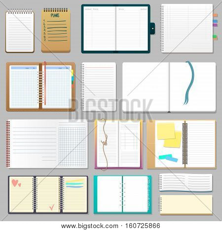 Corporate identity template textbook set. Business stationery notebook diary note cover. Branding design card catalog school brochure booklet vector sheet.