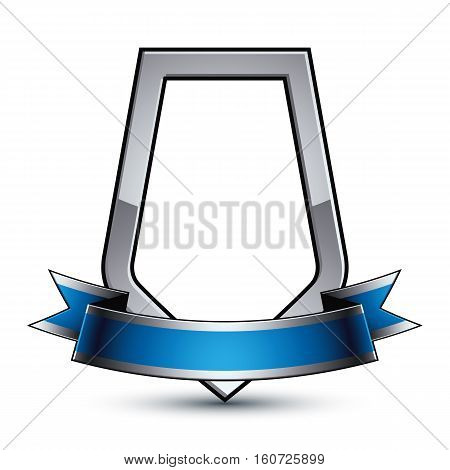 Elegant vector protection shield with silver outline and wavy blue ribbon 3d sophisticated gray design element clear EPS 8 emblem.