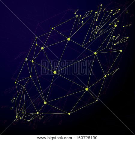 Perspective technology demolished shape with lines and dots connected communication technology polygonal wireframe object. Explosion effect abstract faceted element cracked into fragments.