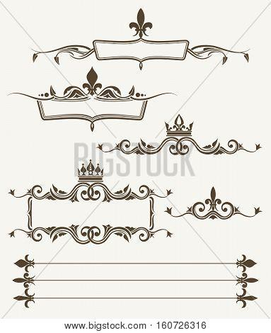 Royal crowns and fleur de lys ornate frames. Elements for decoration design. Vector illustration