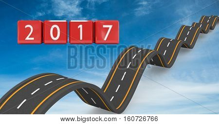 2017 on composite image 3D of bumpy roads in blue sky