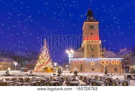 Beautiful Christmas scene outdoor in Brasov town Transylvania Romania
