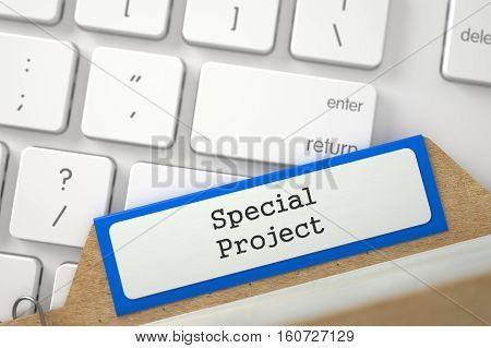 Special Project written on Orange File Card Overlies White PC Keyboard. Closeup View. Blurred Illustration. 3D Rendering.