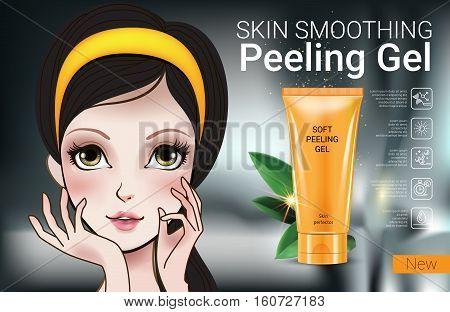 Skin smoothing peeling gel ads. Vector Illustration with Manga style girl and peeling gel tube.