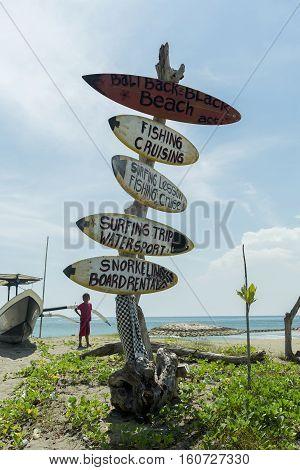 BALI INDONESIA APRIL 3 2016: Surf pointer on Kuta Beach in Bali Indonesia
