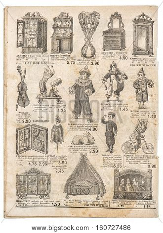 Vintage toys collection. Antique googs shop advertising page of original shopping catalog La Samaritaine Paris France circa 1897