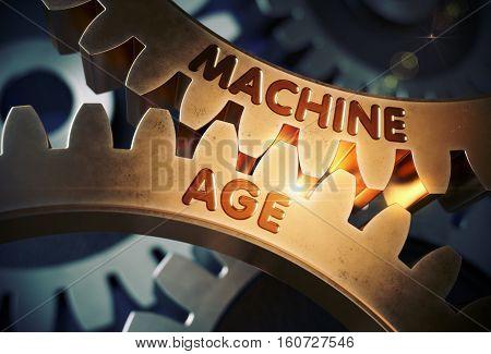 Golden Metallic Cogwheels with Machine Age Concept. Machine Age on Mechanism of Golden Metallic Gears. 3D Rendering.