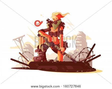 Postapokalipsis girl on ruins of city with gun. Vector illustration