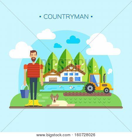 Farmer Near Farm Field Farmland Countryside Landscape Flat Vector Illustration