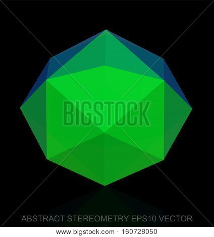 Abstract stereometry: low poly Green Octahedron. 3D polygonal object, EPS 10, vector illustration.