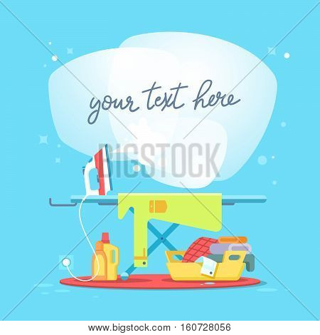 Ironing board and clothes iron. Concept of house work cleaning service and household appliances. flat vector illustration